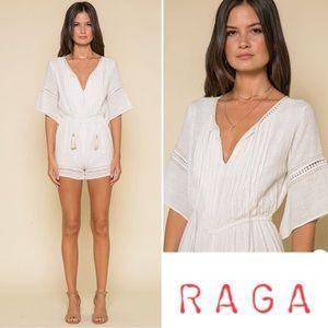 RAGA Cream Bianca Pleated Romper Size Medium